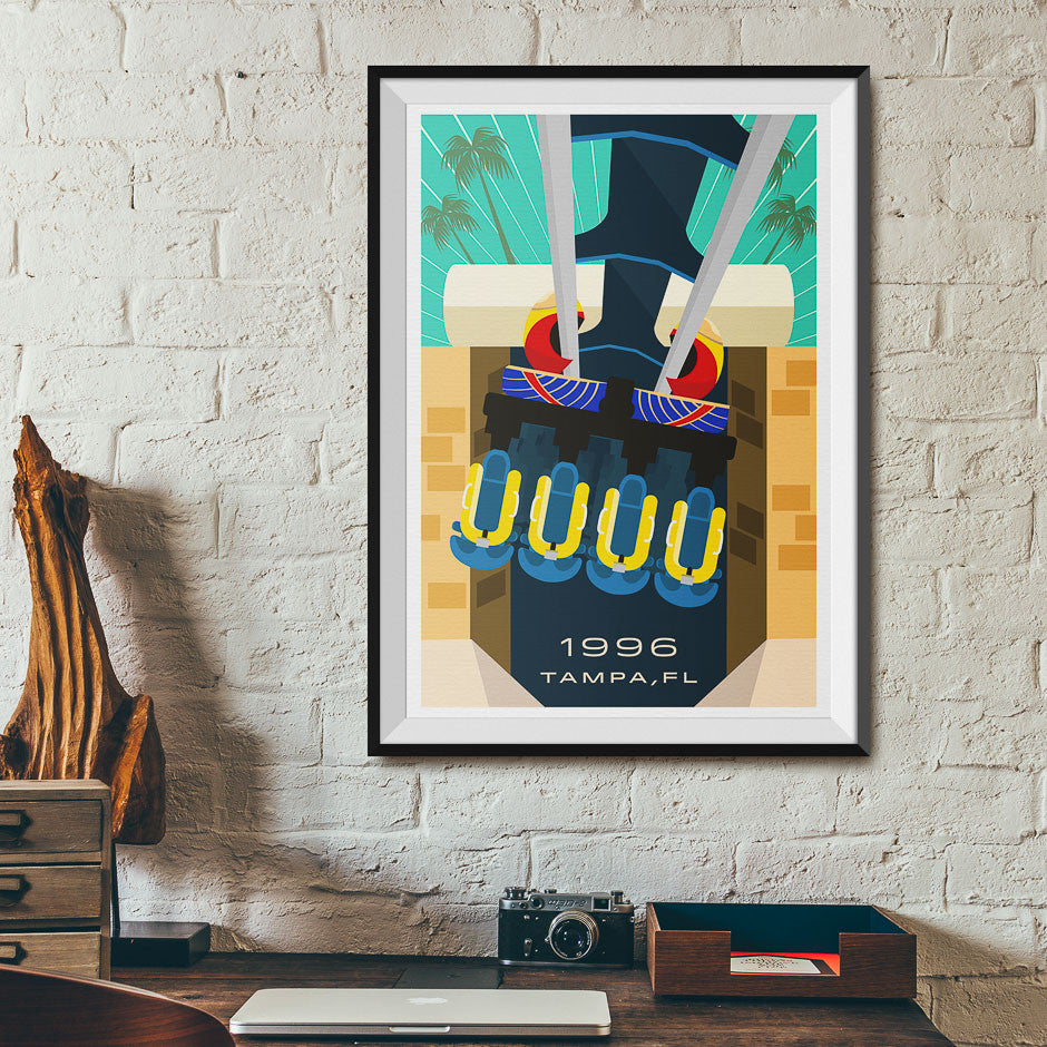 Tampa, FL. 1996 Roller Coaster Poster | Office