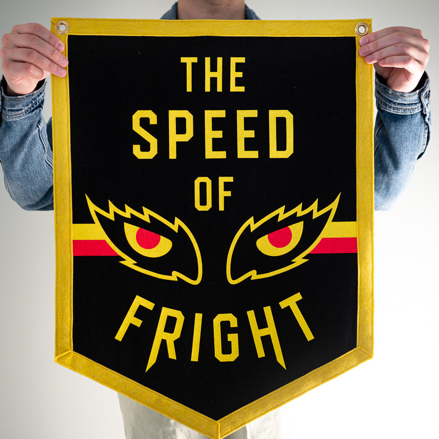 The Speed of Fright Retro Roller Coaster Banner | In hand