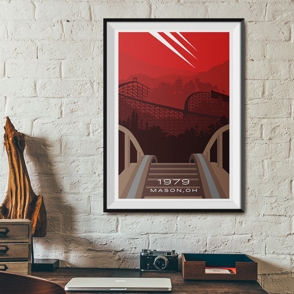 Mason, Ohio 1979 Wooden Roller Coaster Poster | Office