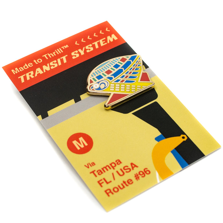 Transit System Route 96 Tampa, FL. Roller Coaster Inspired Pin Detail