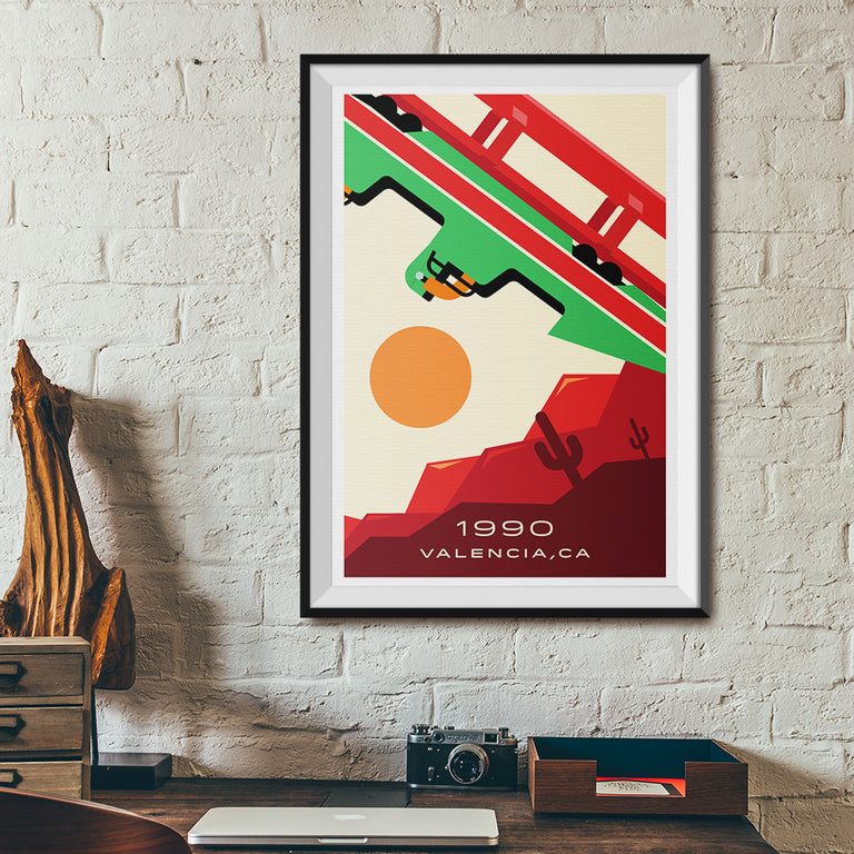 Valencia, CA. 1990 Looping Roller Coaster Poster | Office