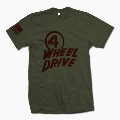 Army Green w/ Brown 4 Wheel Drive TShirt - Jeep Threads