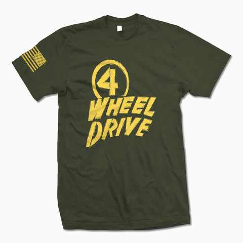 Army Green w/ Yellow 4 Wheel Drive TShirt