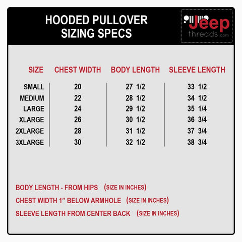 Jeep Threads Sizing Chart - Hoodies