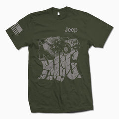 Army Green Jeep Hug TShirt - Jeep Threads
