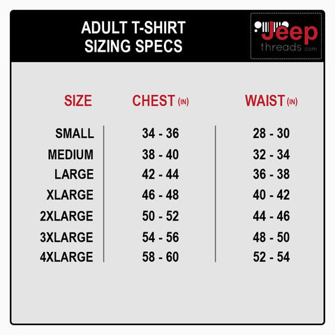 Jeep Threads Sizing Chart for Army Green w/ Brown 4 Wheel Drive TShirt - Jeep Threads