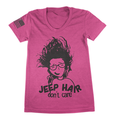 Pink Jeep Hair Don't Care TShirt - Jeep Threads
