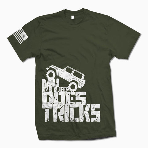 Army Green My Jeep Does Tricks TShirt - Jeep Threads