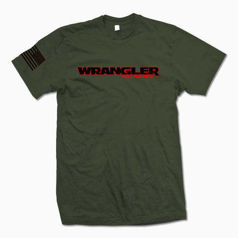 Army Green Wrangler Unlimited T-Shirt - Jeep Threads
