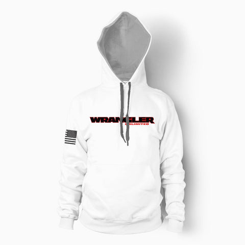 White Wrangler Unlimited Hoodie - Jeep Threads