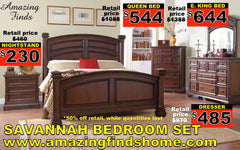 Savannah bed, nightstand 50% off