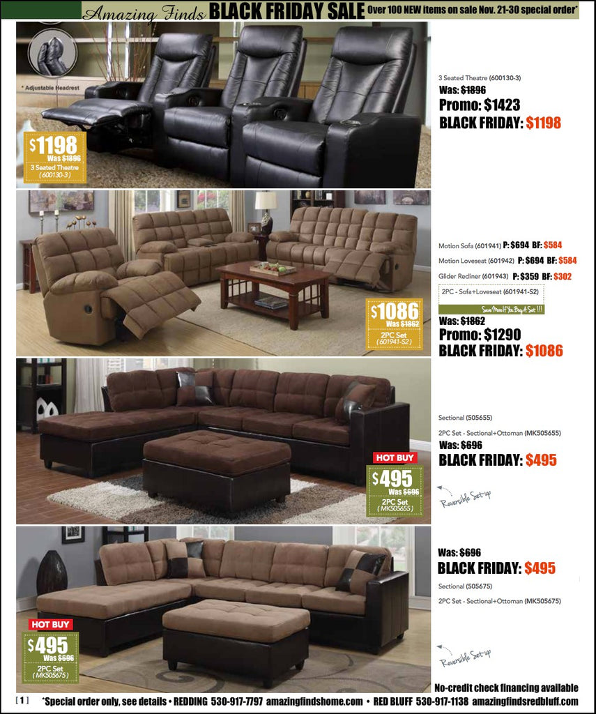 Black Friday Sale on living room sets, theater seats, sectional