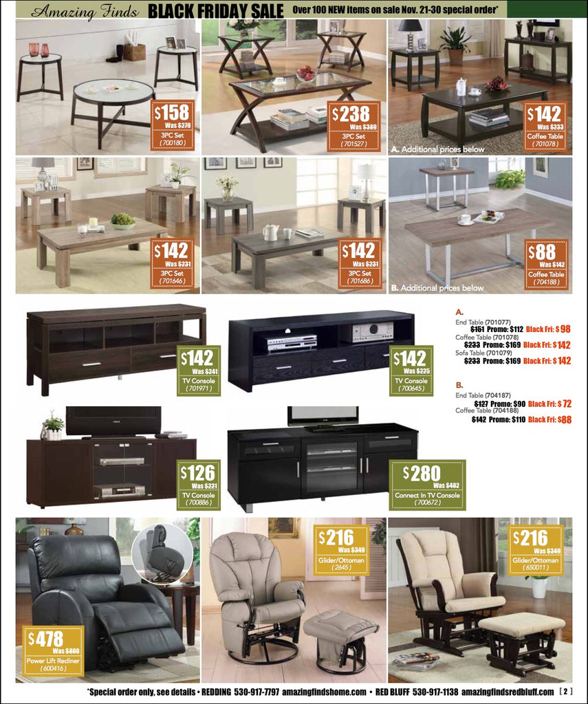 Black Friday Sale on occasional table sets, TV stands, lift recliner, glider rockers