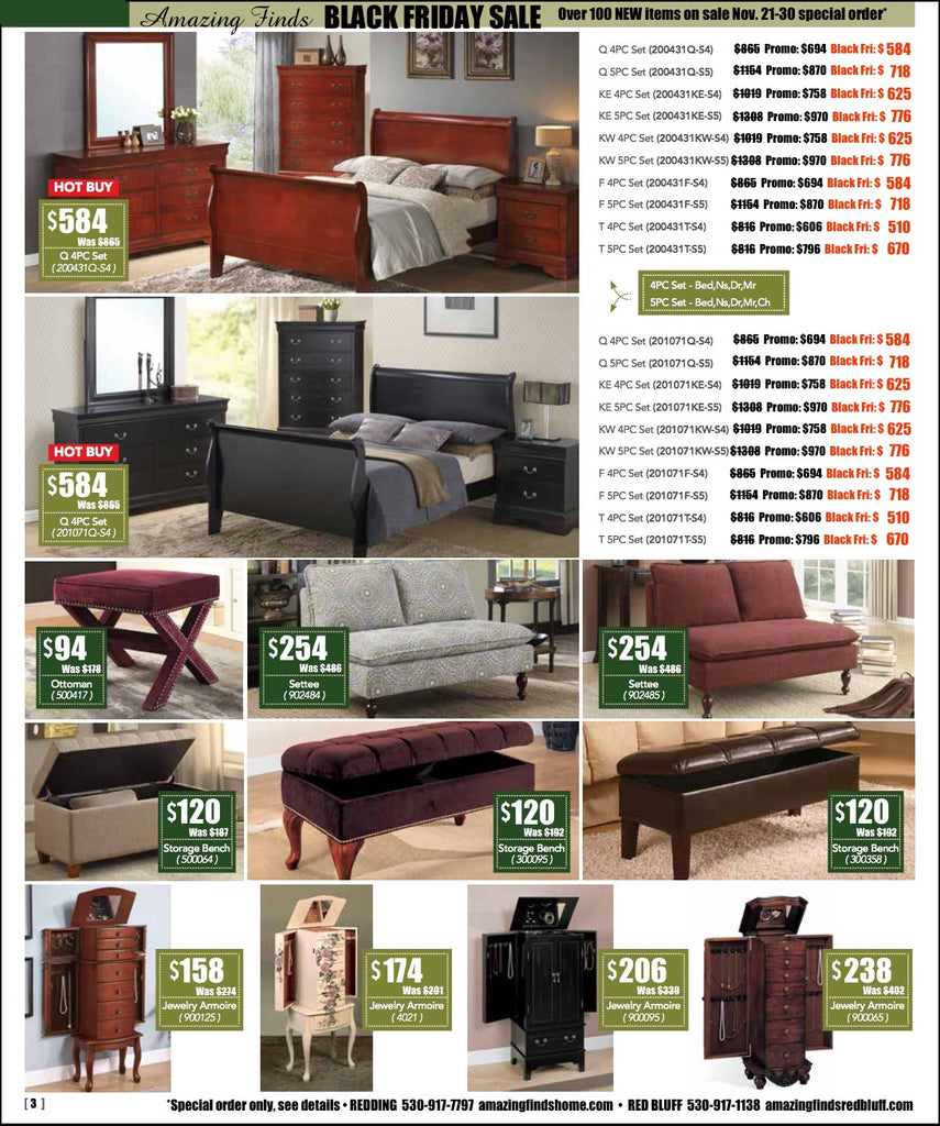 Black Friday Sale on bedroom sets, loveseats, benches, jewelry armoires