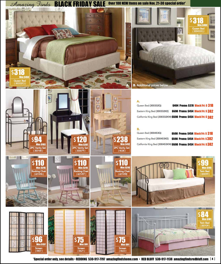 Black Friday Sale on beds, vanties, rocking chairs, folding screens, daybeds