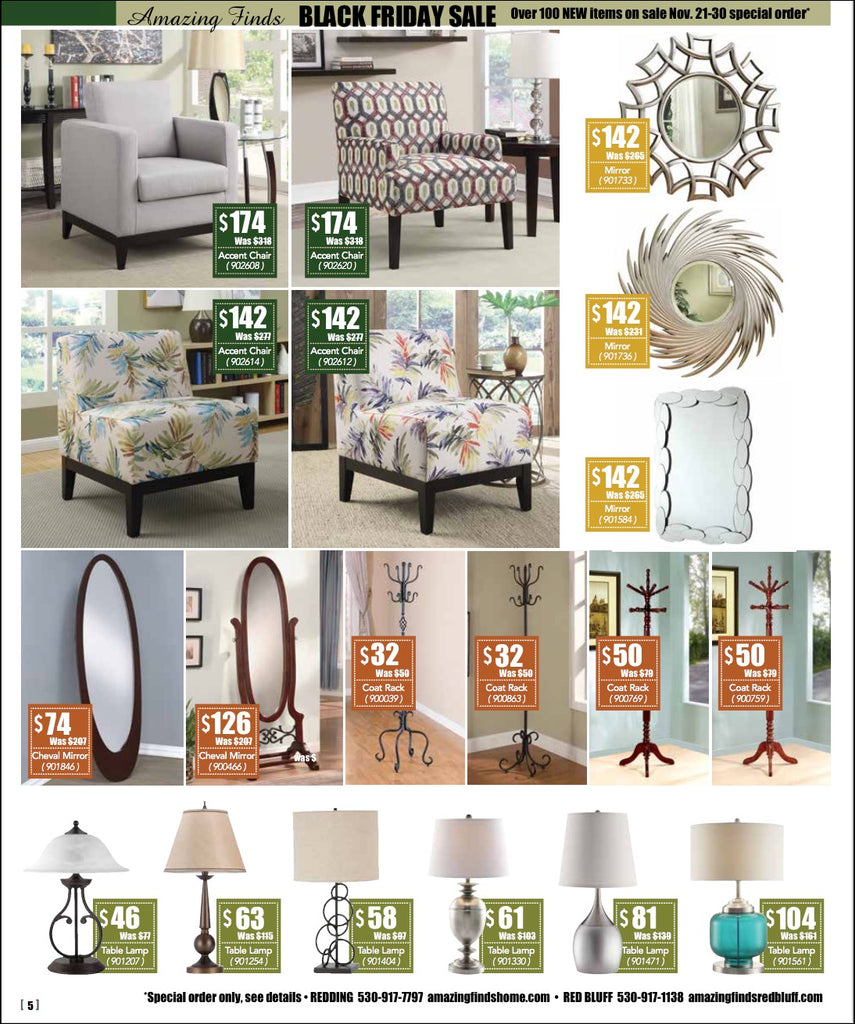 Black Friday Sale on accent chairs, mirrors, coat racks, lamps