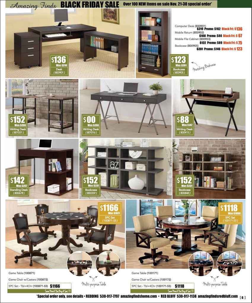 Black Friday Sale on desks, bookcases, dining/games tables