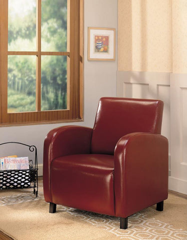 Accent chair high back red leatherette CO-900335