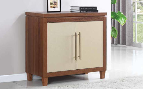 Accent cabinet Mid Century style walnut/gold finish CO-950705