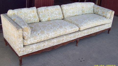 Carved Wood Couch By W U0026 J Sloane, Down Stuffed Cushions, Low Back, Antique  Or Vintage 98x32x25H.