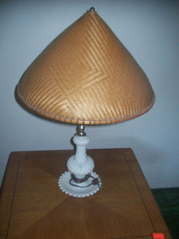 Milk glass lamp w shade 15849