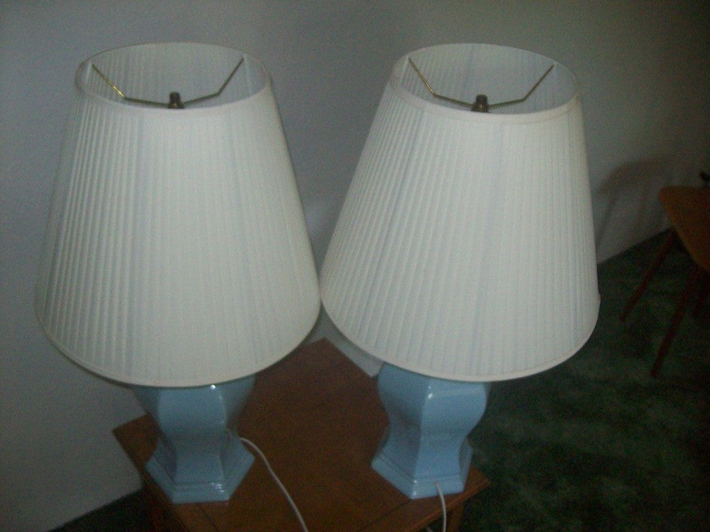 Light blue ceramic lamps 15851