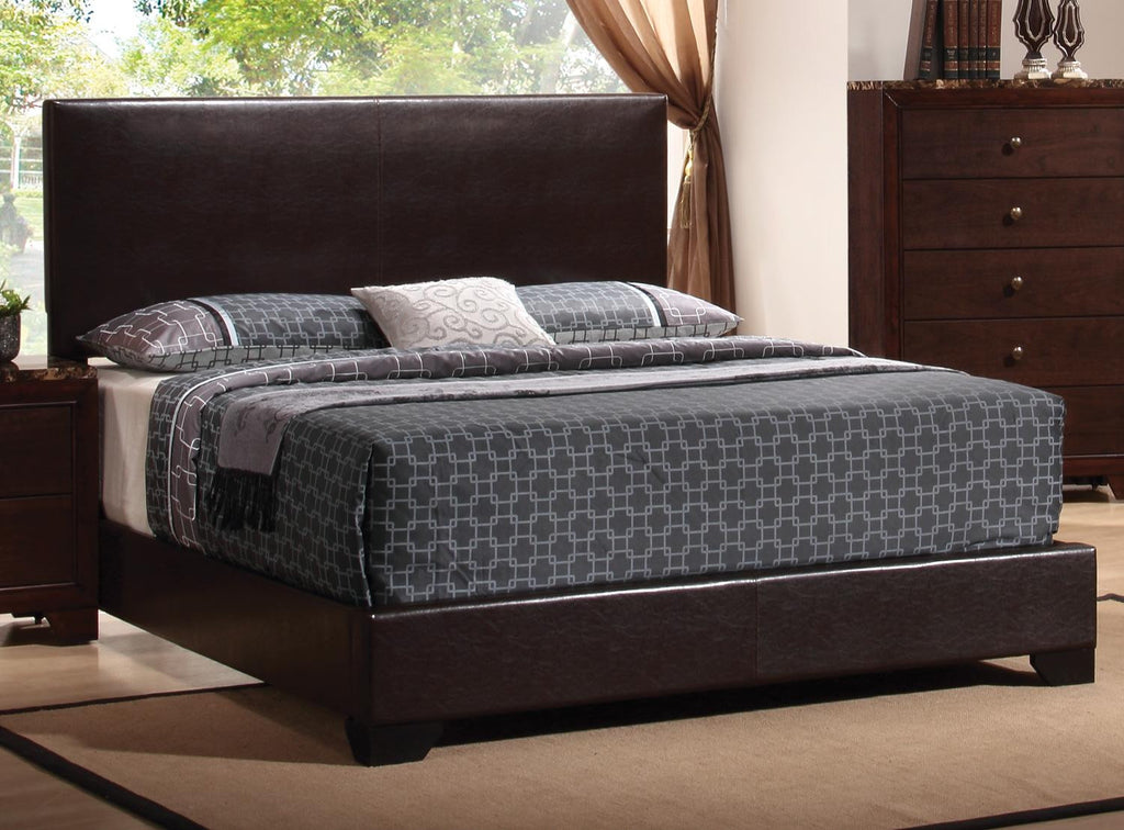 Cal king bed, upholstered leather, espresso Coaster CO-300261KW