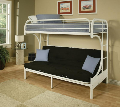 Bunk bed twin futon/metal white BE-4509-WH