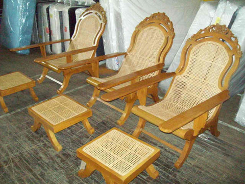 Arm chairs w/ ottomans hand carved 17453