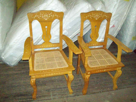 Arm chairs hand carved 17455
