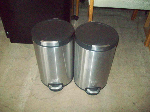 Brushed aluminum trash cans 17588