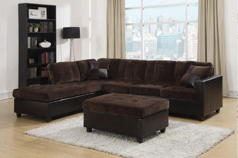 Mallory chocolate velvet sectional w ottoman CO-505645-SO
