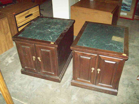 Rectangular marble top end tables 19188
