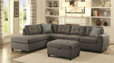 Stonesse gray fabric sectional sofa w ottoman CO-500413-SO
