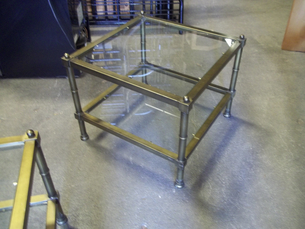 Metal framed glass top end table 19772