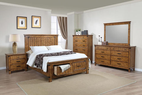 Brenner queen bedroom set with storage bed rustic honey 4pc CO-205260Q-S4