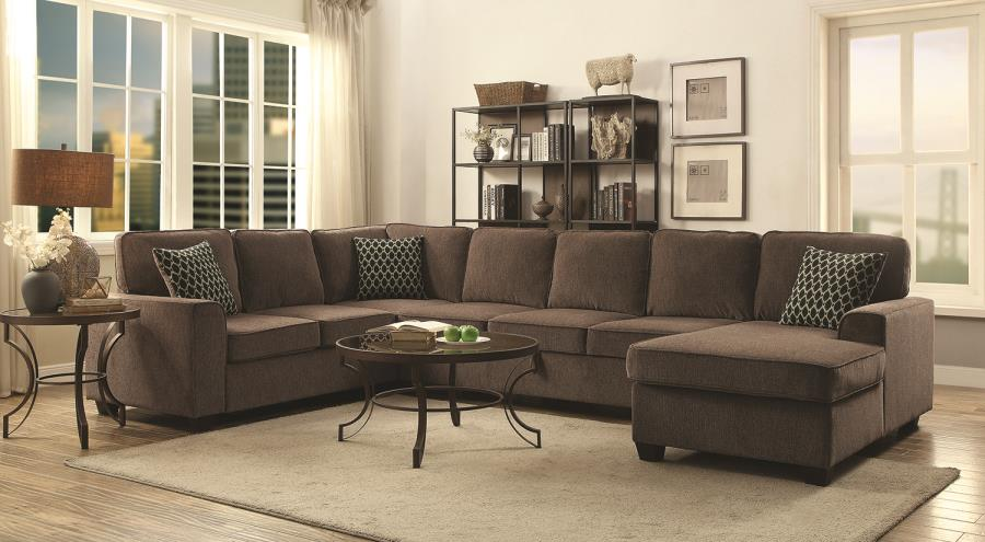 Provence large 3pc U-shaped sectional storage sofa gray brown by Coaster CO-501686