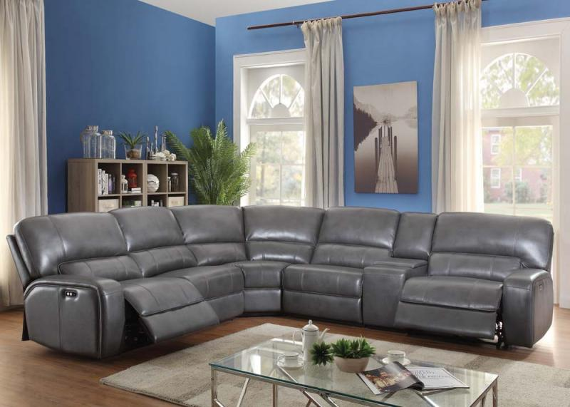 Saul gray leather-aire reclining power sectional sofa NEW AC-53745