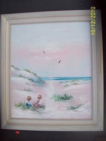 Oil painting, beach, children 1538019