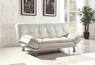 Dilleston leatherette sofa bed white CO-300291