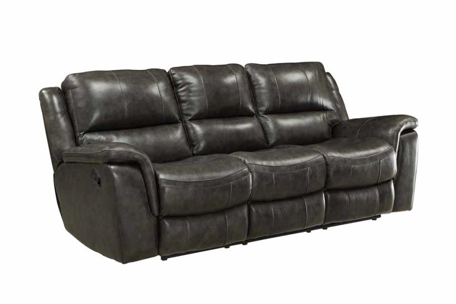 CLEARANCE 50% OFF Wingfield reclining sofa top grain leather match charcoal finish NEW CO-601821