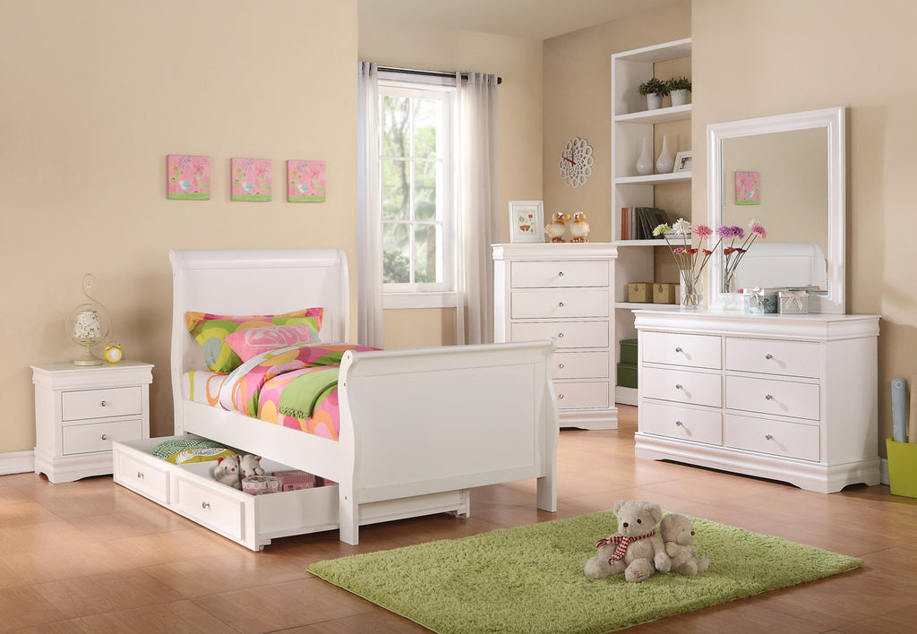 Louis Philippe white twin bed BE-52251-T