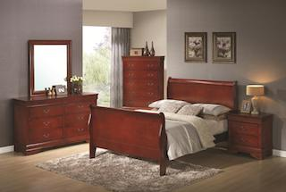 Louis Philippe Queen Sleigh Panel Bed Cherry CO-200431Q