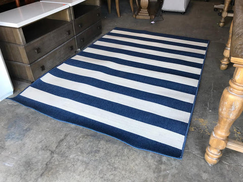 Blue and white striped area rug 5'x7' 20816