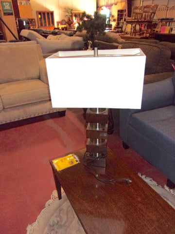 Wood and metal lamp w shade 20826