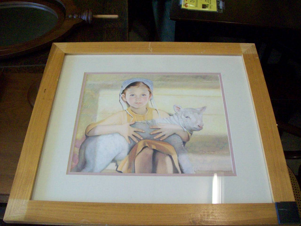 Picture, little girl w/ sheep RB7190
