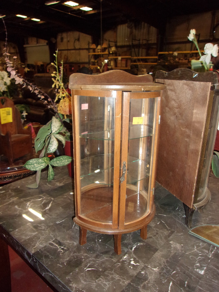 Curved glass curio display mirrored back 20866