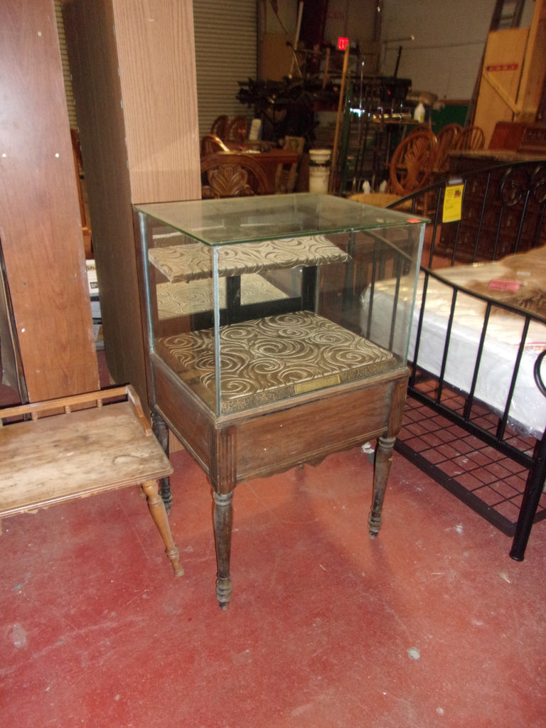 Antique curio display w drawer  20902