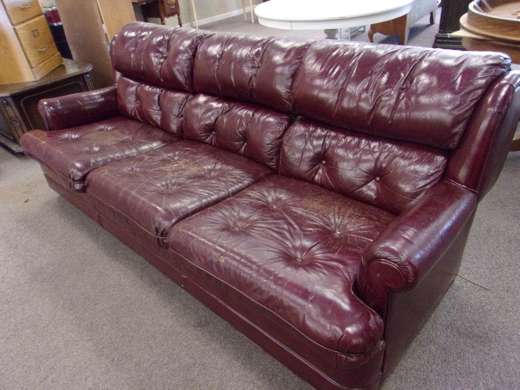 Leather sofa burgundy 3 cushion 21027
