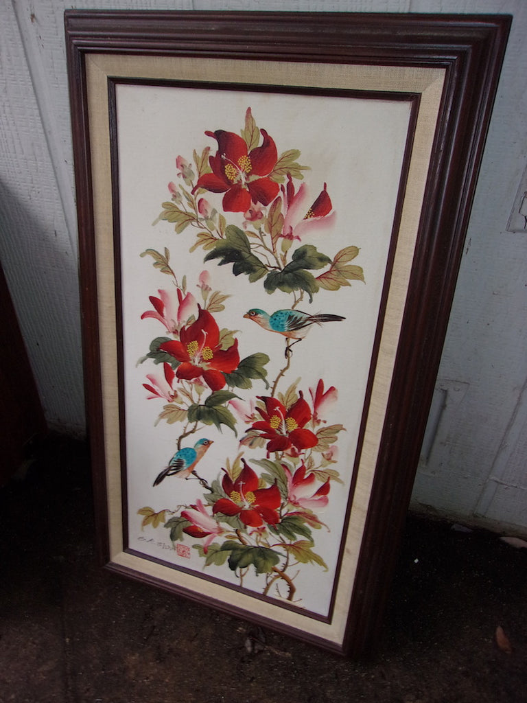 Picture framed, hibiscus, bird 21129